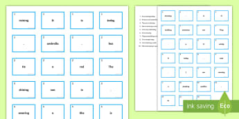 Weather Sentence Construction Cards - Sentence Building, Sentence Ordering, Syntax, Determiners, Nouns, Verbs