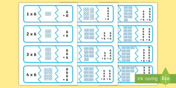Six Times Table Matching  Puzzle -  - 6 times table, six, sx, multiples, multiplying six,  matching, Timw, mathching
