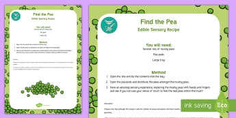 Find the Pea Edible Sensory Recipe - pea, mushy peas, edible play, sensory play, tactile play, baby play, taste-safe, toddler play, explo
