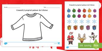Creează ți un pulover de Crăciun Fișă de activitate - Crăciun, activități manuale, jucării de crăciun, machete, ,Romanian