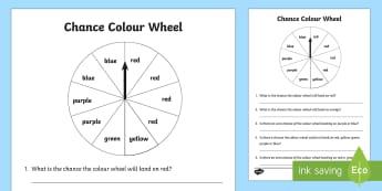 Year 1 Chance Colour Wheel Activity Sheet - Australian Curriculum Statistics and Probability, chance, ACMSP024, Year 1, will happen, won't happ