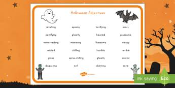 Halloween Adjectives Word Mat - Halloween, word mat, adjectives, English, literacy