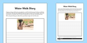 Water Walk Diary Activity Sheet - water walk, diary, activity sheet, activity, sheet, worksheet