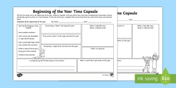 Beginning of the Year Time Capsule Activity Sheet - Transition, New teacher, goal setting, predictions, targets, first week, Getting to know you, All ab