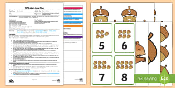 EYFS Acorn Addition to 20 Adult Input Plan and Resource Pack - Using quantities and objects, add and subtract two single-digit numbers, count on or back to find th