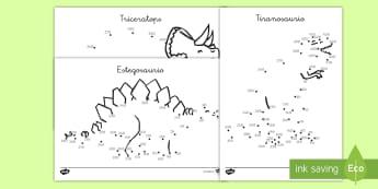 Punto a punto de contar de 10 en 10: Los Dinosaurios - Dinosaurios, pre-historia, dinos, tiranosaurio, estegosaurio, triceratops, proyectos, aprendizaje ba