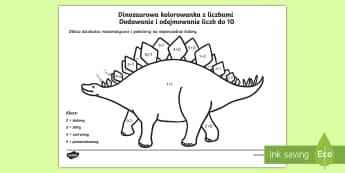 Karta Dinozaurowa kolorowanka Dodawanie i odejmowanie liczb do 10 - dinozaur, dinozaury, dino, dodawanie, odejmowanie, odjąć, dodać, suma, różnica, matematyka, mat