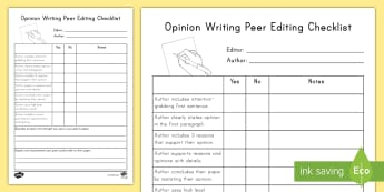 Opinion Writing Peer Editing Checklist - W3.1, peer assessment, work on writing, evaluation, writing strengths, target setting