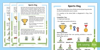 KS1 Sports Day Differentiated Fact File - P.E., Race, Facts, Information, Non-fiction, Real life, Questions