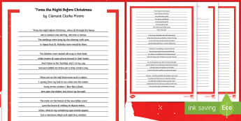 Twas the Night Before Christmas Handwriting Practice - 'twas the night before christmas, christmas, handwriting, write, writing, practice