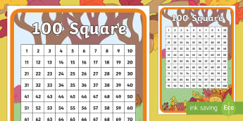 Little Acorns 100 Number Square - twinkl originals, fiction, autumn, plants, life cycle