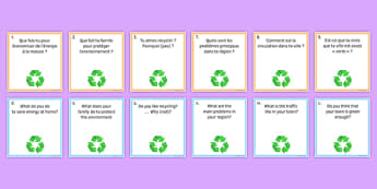 Global Issues Question Pair Cards French - Conversation, Speaking, Environment, Environnement, Planet, Planète, Energy, énergie, Recycling, Recyclage, Poverty, Pauvreté, Homeless, SDF, Sans-abri, Cards, Cartes
