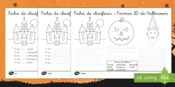 Halloween Ficha de clasificar formas geométricas