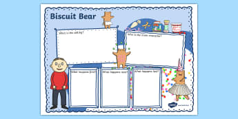 Story Review Writing Frame to Support Teaching on Biscuit Bear - Words, Biscuit, Bear