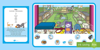Pets Can You Find...? Poster and Prompt Card Pack - EYFS Pets, Animals, National Pet Month, dogs, cats, animal care