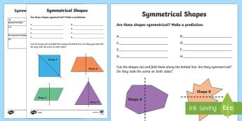 Symmetrical Shapes Worksheet / Activity Sheets