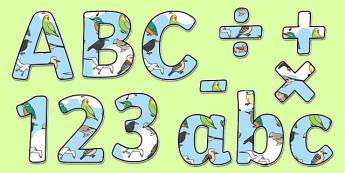 Birds Display Lettering - birds, animals, wildlife, nature, outdoors, ks1, eyfs, classroom, display, title, labels,