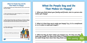 What Do People Say or Do For Us That Makes Us Happy? Activity Sheet - feelings, self-esteem, young people, praise, rewards, families, worksheet