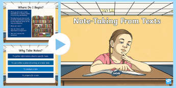Taking Notes from a Book PowerPoint - Note Taking, Informational Text, Nonfiction, Understanding Information, reading skills, Main idea, S