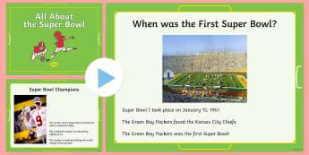 All About the Super Bowl PowerPoint - Super Bowl 2017, Power Point, Football, Interesting Super Bowl Facts, KS1, Kindergarten, 1st Grade