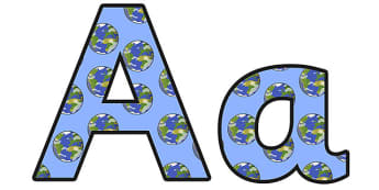 The Earth Lowercase Display Lettering - the earth, the earth display lettering, the earth display letters, the earth a-z lettering, the earth alphabet, ks2