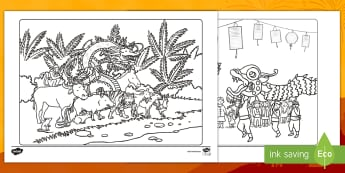 Chinese New Year Colouring Pages  - Colouring Pages, EAL, new year, New Year Story, Chinese Zodiac, Animals, Celebration, Festival,