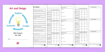 Art Skills Passport Activity Booklet  - levels, support, assessment, Art, review, Skills, reflection, self-assessment, feedback, formative