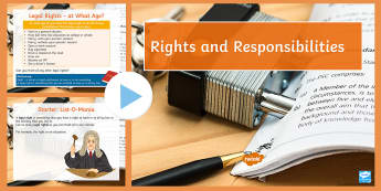 Rights and Responsibilities Lesson Pack - rights, responsibilities, legal rights, moral rights, legal responsibilities, moral responsibilities