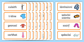 Clothes Shop Word Cards Gaeilge - gaeilge, irish, Clothes shop Role Play, clothes shop resources, shop, till, buy, money, clothes, ourselves, shoes, role play, display, poster, Word cards, Word Card, flashcard, flashcards