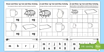 'ug' Onset and Rime Differentiated Activity Sheets-Australia - EYLF, Literacy, phonological awareness, onset and rime, cvc words, english, kindergarten, pre-primar