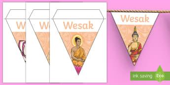 Wesak Display Bunting - wesak, wesak, buddah, buddism,