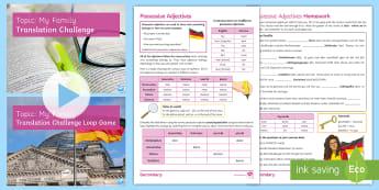 Translation Challenge: My Family Activity Pack German - Possessive Adjectives, Grammar, KS3, KS4, Family Revision, AQA, German