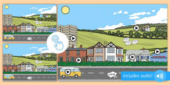 Houses and Homes Noisy Picture Hotspots - EYFS Houses and Homes, my environment, environmental sounds, sound, interactive, house, flats, river, Twinkl Go, twinkl go, TwinklGo, twinklgo
