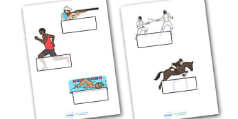 The Olympics Pentathlon Self-Registration - Pentathlon, Olympics, Olympic Games, sports, Olympic, London, 2012, Self registration, register, editable, labels, registration, child name label, printable labels, activity, Olympic torch, events, flag, co