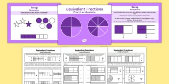 Equivalent Fractions PowerPoint with Activity Sheets English/Romanian - Year 3-Equivalent Fractions Powerpoint with Worksheets - fraction, frctions, frations, factions, fra