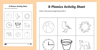 b Phonics Colouring Activity Sheet - Republic of Ireland, Phonics Resources, sounding out, initial sounds, activity sheet, colouring, pho