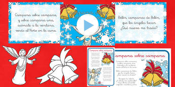 Campana sobre Campana Pack de recursos - Navidad, canción, villancico, póster, presentación, marionetas de palo, festival,