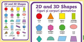 2D and 3D Display Poster English/Romanian - shpes,2d shaes, 3d sape, 2d shpaes,EAL