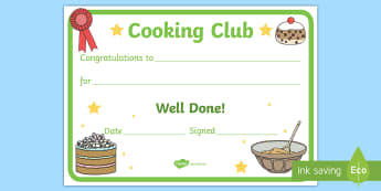 Cooking Club Certificate - cookery, home economics, d&T, baking, food technology