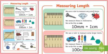 KS1 Maths Measuring Length A4 Display Poster - measure, long, short, ruler, cm, m, centimetre, millimetre