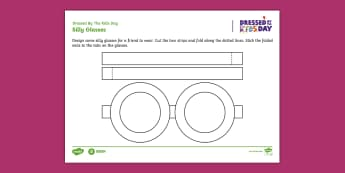 Dressed by the Kids Day Glasses Design Activity Sheet - Oxfam Dressed by the Kids Day, worksheet, design