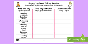 Days of the Week Writing Practice Activity Sheet English/Polish - Days of the Week Writing Practice Worksheet - practice, writing, days of the wek, days pf the week,
