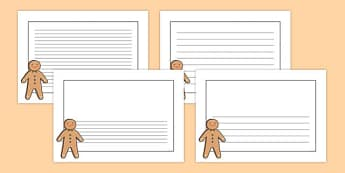 Gingerbread Man Landscape Page Borders- Landscape Page Borders - Page border, border, writing template, writing aid, writing frame, a4 border, template, templates, landscape