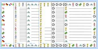 Football World Cup Writing Frames And Worksheets Primary Resour