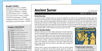 Ancient Sumer History Fact Sheet for Adults - history, fact sheet, ancient sumer