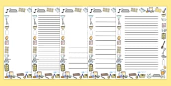 Cooking Page Borders - cooking, page borders, cook, baking, baking page borders, bake, ingredients, kitchen, writing frames, writing template, writing templates, aids, literacy, food