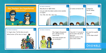 Our Teachers Are Superheroes Mixed  Maths Challenge Cards - addition, subtraction, multiplication, division, word, problems, solve, questions,