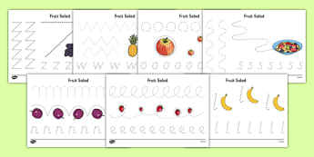 Fruit Salad Pencil Control Sheets - olivers fruit salad, fruit salad, pencil control, pencil, control