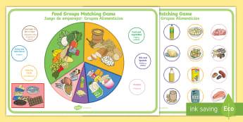 Food Groups Matching Game Activity Sheet English/Spanish - food, food groups, matching, match, mathching, EAL,Spanish-translation