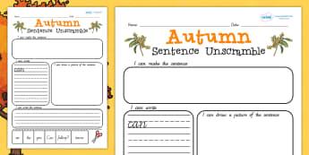 Autumn Sentence Unscramble - literacy, seasons, activities, games